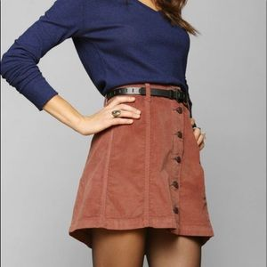 BDG Urban Outfitters rust corduroy button front A-line mini skirt Size 8